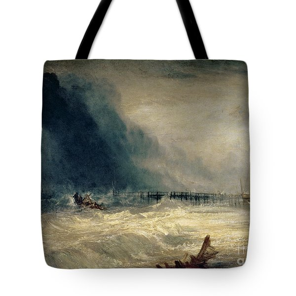 Lifeboat And Manby Apparatus Going Off To A Stranded Vessel Making Signal Of Distress Tote Bag by Joseph Mallord William Turner
