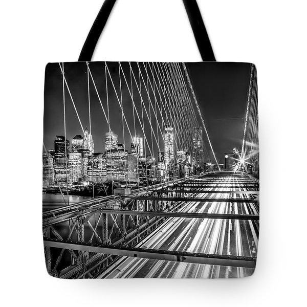 Light Trails Of Manhattan Tote Bag by Az Jackson