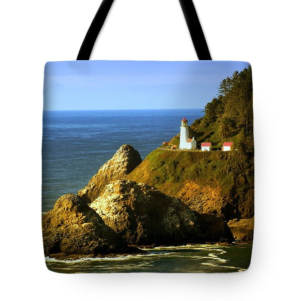 Lighthouse On The Oregon Coast Tote Bag by Marty Koch