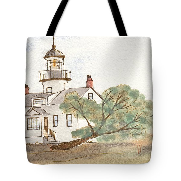 Lighthouse Sketch Tote Bag by Ken Powers