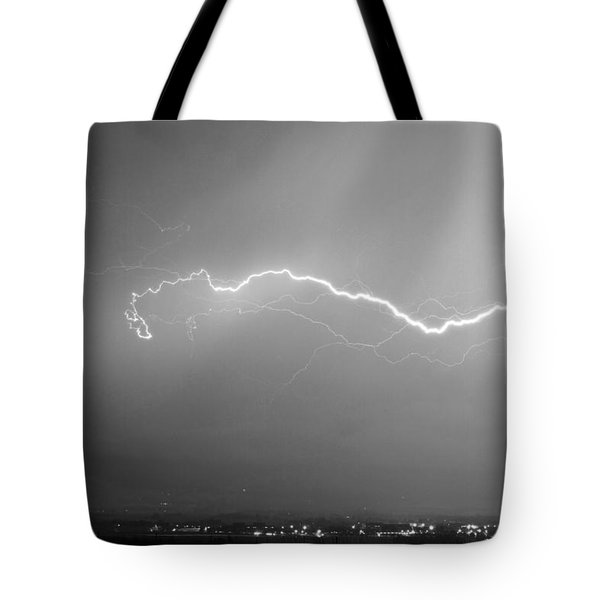 Lightning Over North Boulder Colorado  Ibm Bw Tote Bag by James BO  Insogna