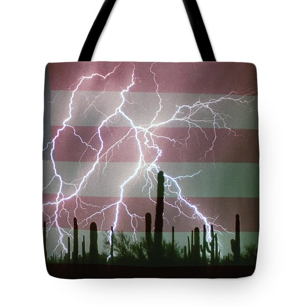 Lightning Storm In The Usa Desert Flag Background Tote Bag by James BO  Insogna