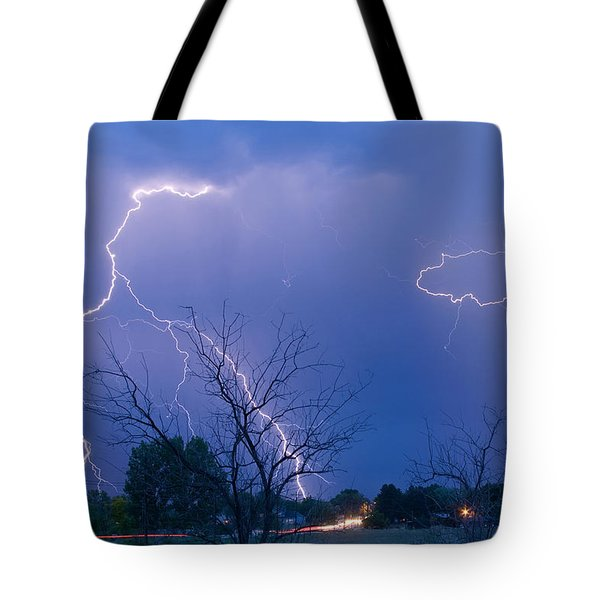 Lightning Storm On 17th Street Fine Art Print Tote Bag by James BO  Insogna