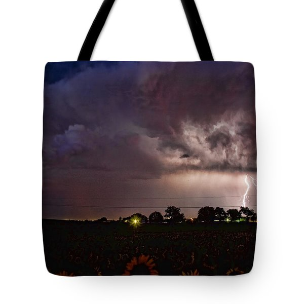 Lightning Stormy Weather Of Sunflowers Tote Bag by James BO  Insogna