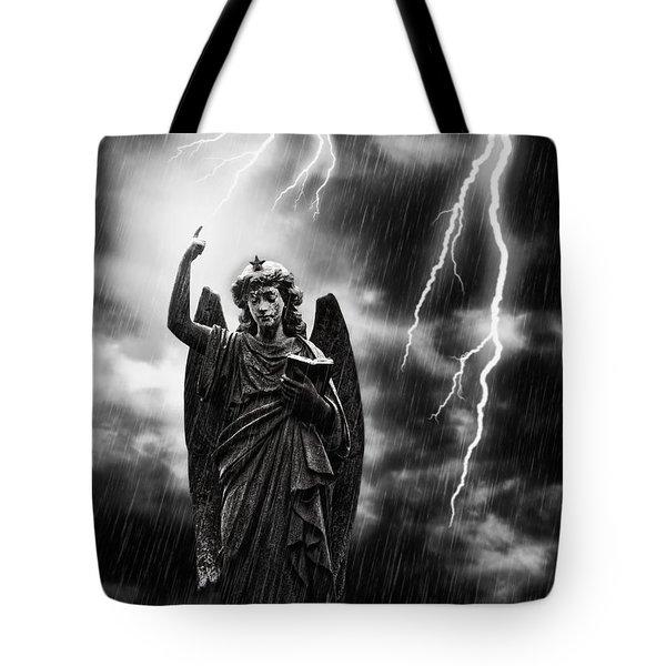Lightning Strikes The Angel Gabriel Tote Bag by Amanda Elwell