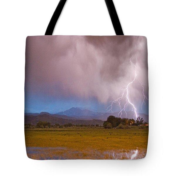 Lightning Striking Longs Peak Foothills 7c Tote Bag by James BO  Insogna