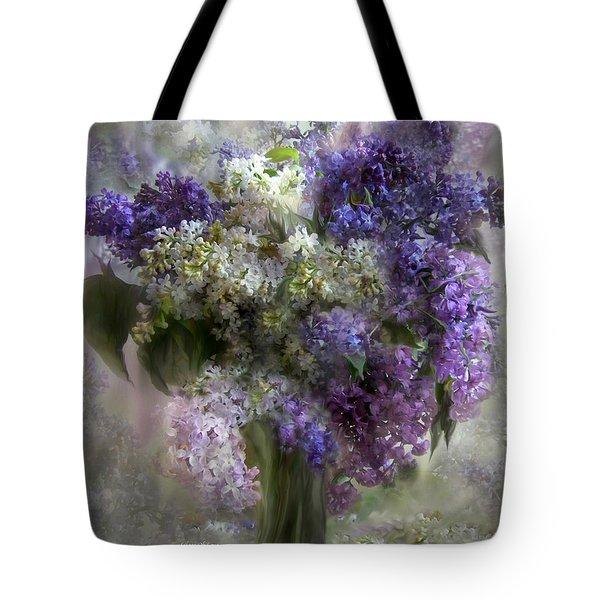 Lilacs Of Love Tote Bag by Carol Cavalaris