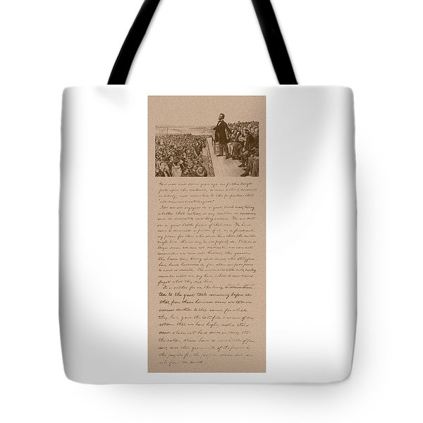 Lincoln And The Gettysburg Address Tote Bag by War Is Hell Store