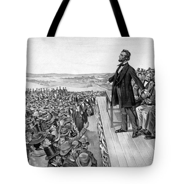 Lincoln Delivering The Gettysburg Address Tote Bag by War Is Hell Store