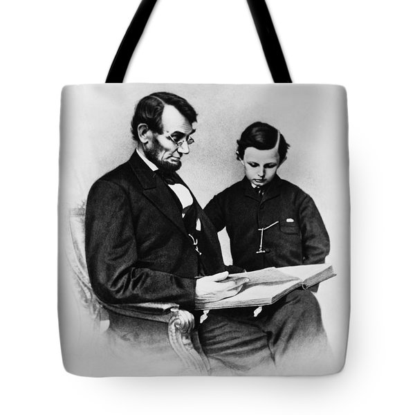Lincoln Reading To His Son Tote Bag by Photo Researchers