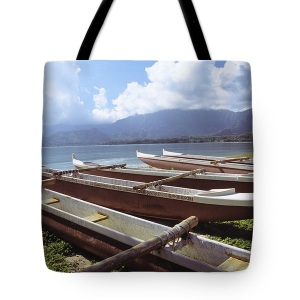Line Of Outrigger Canoes Tote Bag by Joss - Printscapes