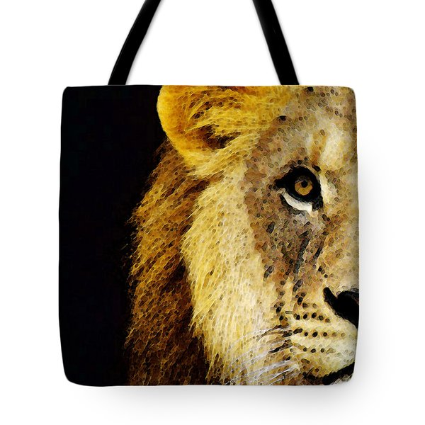 Lion Art - Face Off Tote Bag by Sharon Cummings