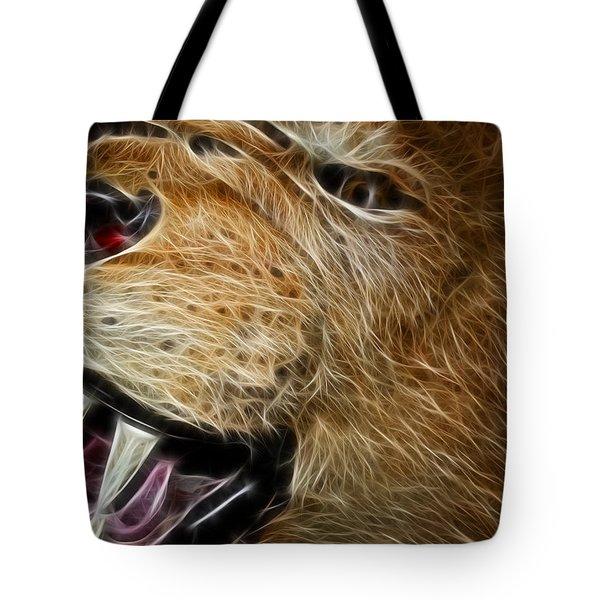 Lion Fractal Tote Bag by Shane Bechler