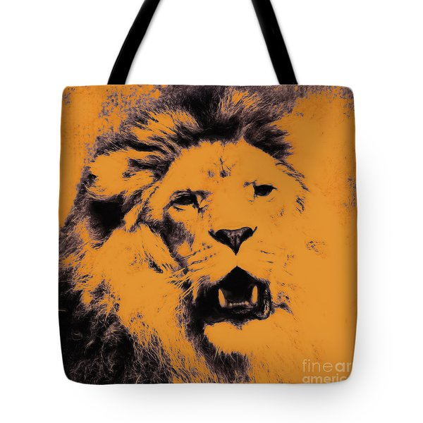 Lion Pop Art Tote Bag by Angela Doelling AD DESIGN Photo and PhotoArt