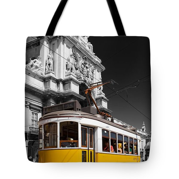 Lisbon's Typical Yellow Tram In Commerce Square Tote Bag by Jose Elias - Sofia Pereira