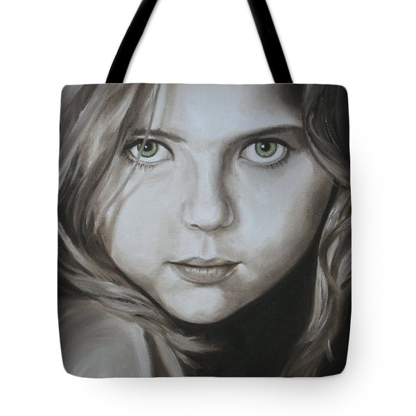 Little Girl With Green Eyes Tote Bag by Jindra Noewi