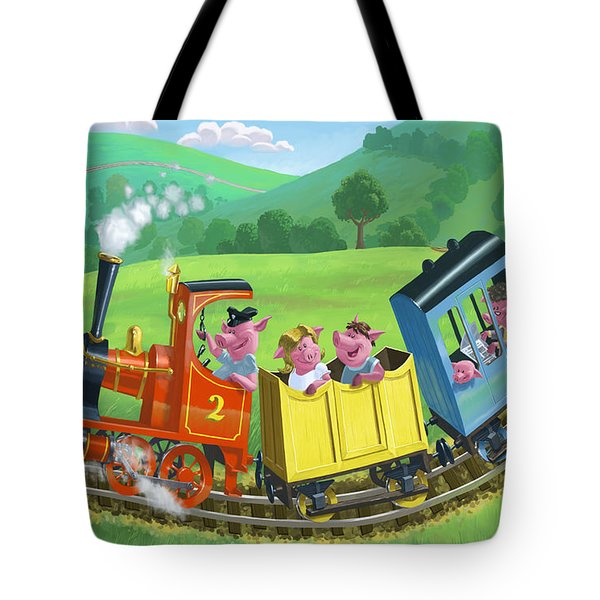 little happy pigs on train journey Tote Bag by Martin Davey