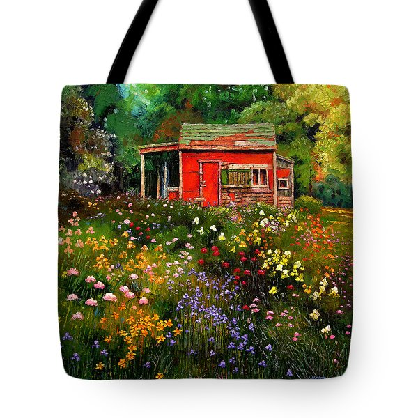 Little Red Flower Shed Tote Bag by John Lautermilch