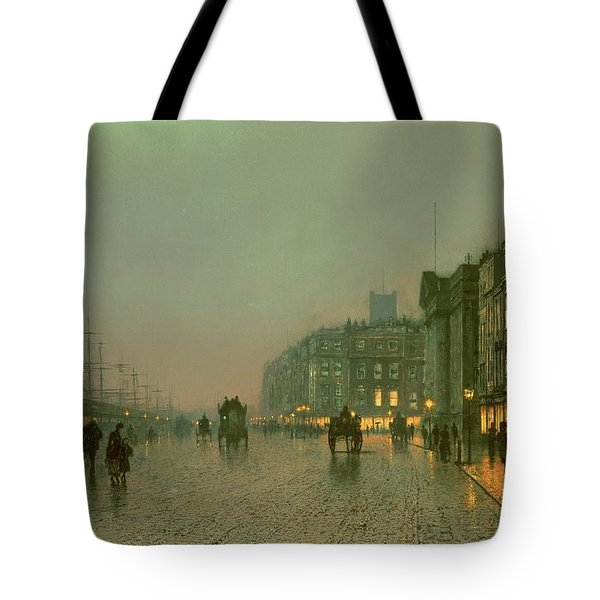 Liverpool Docks From Wapping Tote Bag by John Atkinson Grimshaw