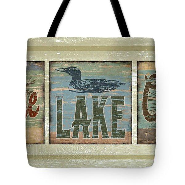 Lodge Lake Cabin Sign Tote Bag by Joe Low