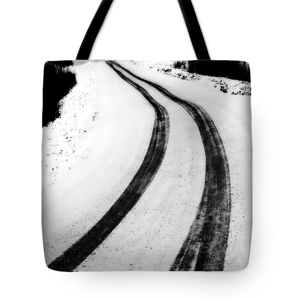 logging road in winter Tote Bag by Mark Duffy