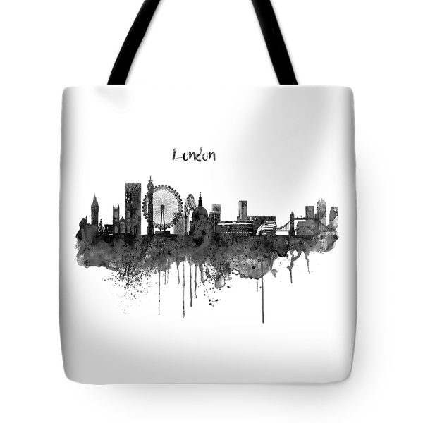 London Black And White Skyline Watercolor Tote Bag by Marian Voicu