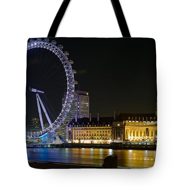 London Eye At Night Tote Bag by Clarence Holmes