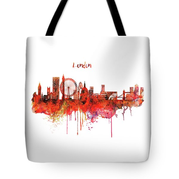 London Skyline Watercolor Tote Bag by Marian Voicu