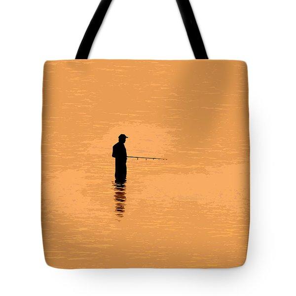 Lone Fisherman Tote Bag by David Lee Thompson