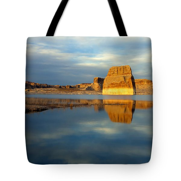 Lone Rock Glow Tote Bag by Mike  Dawson