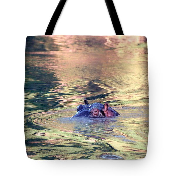 Lonely Hippo Tote Bag by Sebastian Musial