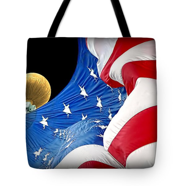 Long May She Wave The American Flag Tote Bag by Jennie Marie Schell