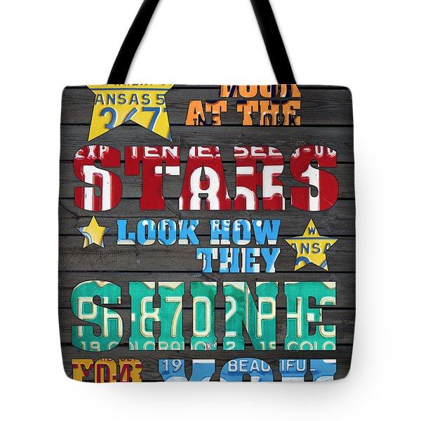 Look At The Stars Coldplay Yellow Inspired Typography Made Using Vintage Recycled License Plates Tote Bag by Design Turnpike