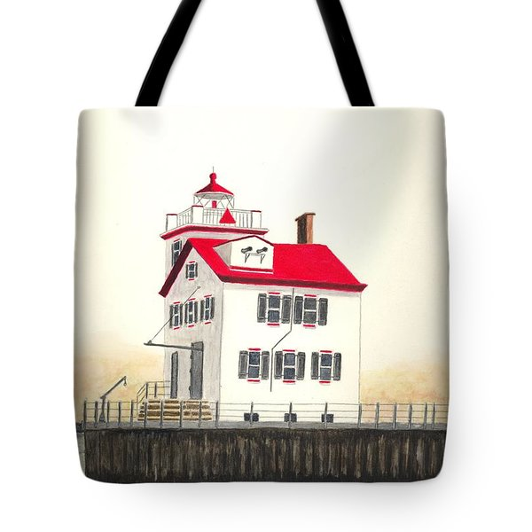 Lorain Lighthouse Tote Bag by Michael Vigliotti