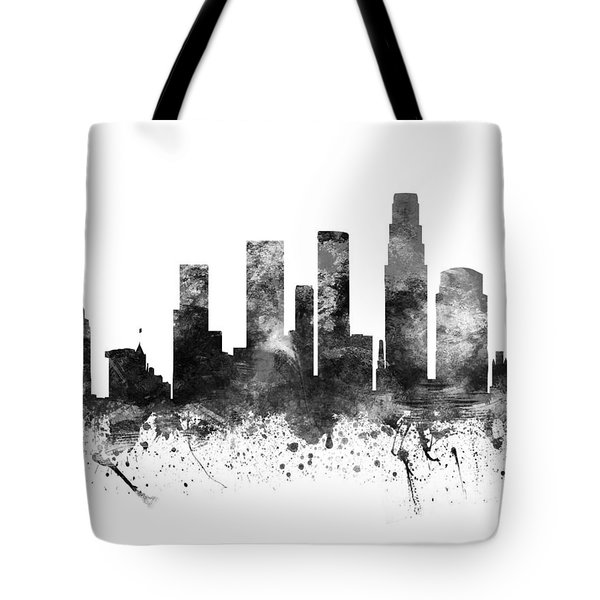 Los Angeles California Cityscape 02bw Tote Bag by Aged Pixel
