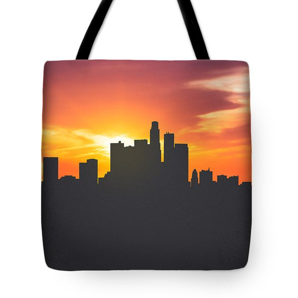 Los Angeles California Sunset Skyline 01 Tote Bag by Aged Pixel