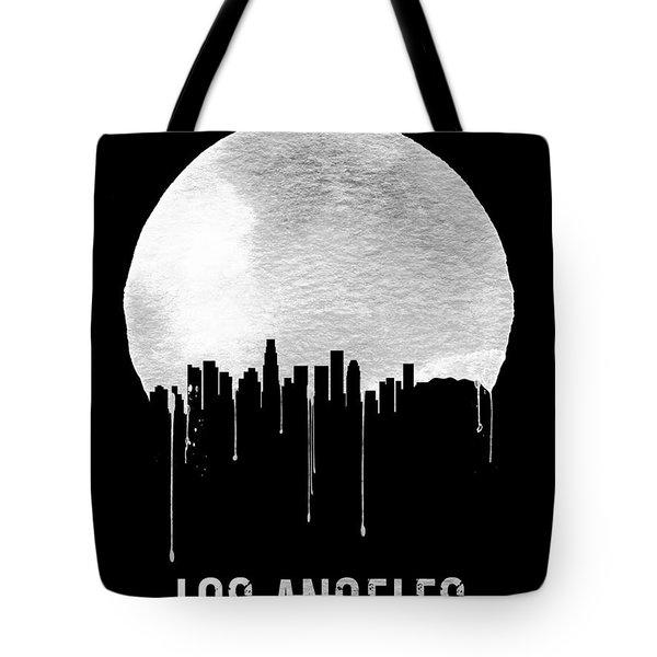 Los Angeles Skyline Black Tote Bag by Naxart Studio