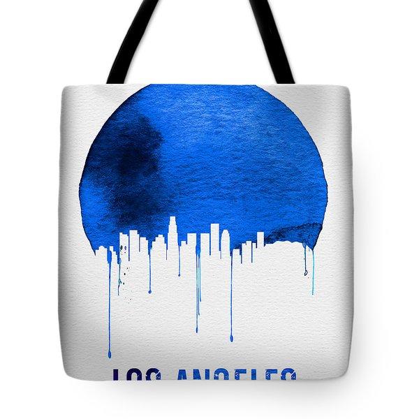 Los Angeles Skyline Blue Tote Bag by Naxart Studio
