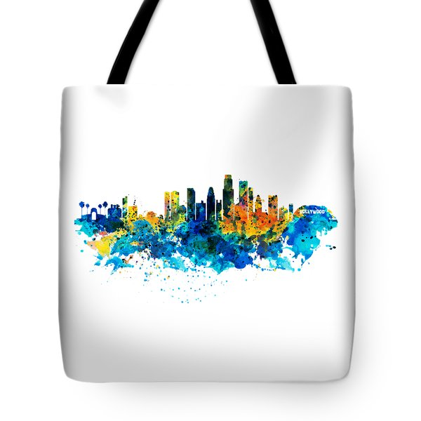 Los Angeles Skyline Tote Bag by Marian Voicu