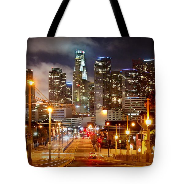 Los Angeles Skyline Night From The East Tote Bag by Jon Holiday