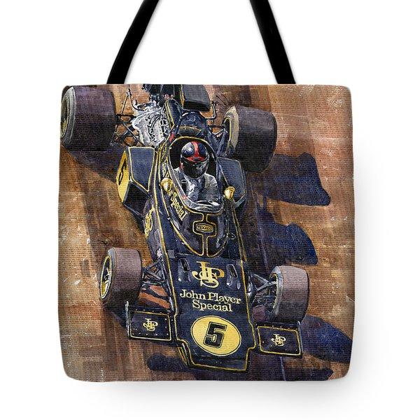 Lotus 72 Canadian GP 1972 Emerson Fittipaldi  Tote Bag by Yuriy  Shevchuk