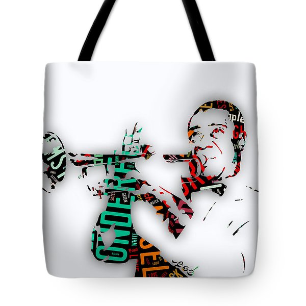 Louis Armstrong What A Wonderful World Lyrics Tote Bag by Marvin Blaine