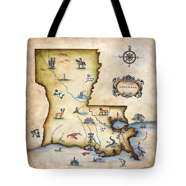 Louisiana Map Tote Bag by Judy Merrell