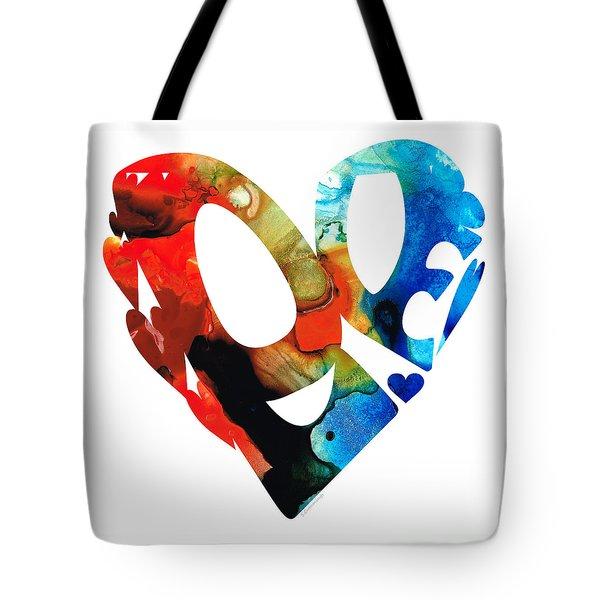 Love 8 - Heart Hearts Romantic Art Tote Bag by Sharon Cummings