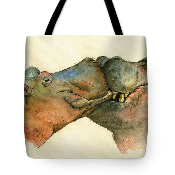 Love Between Hippos Tote Bag by Juan  Bosco