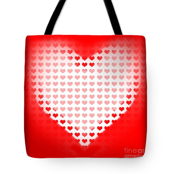 Love Of Valentines Background. Big Red Heart Tote Bag by Ryan Jorgensen