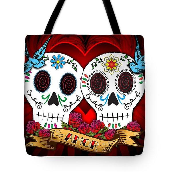 Love Skulls Tote Bag by Tammy Wetzel