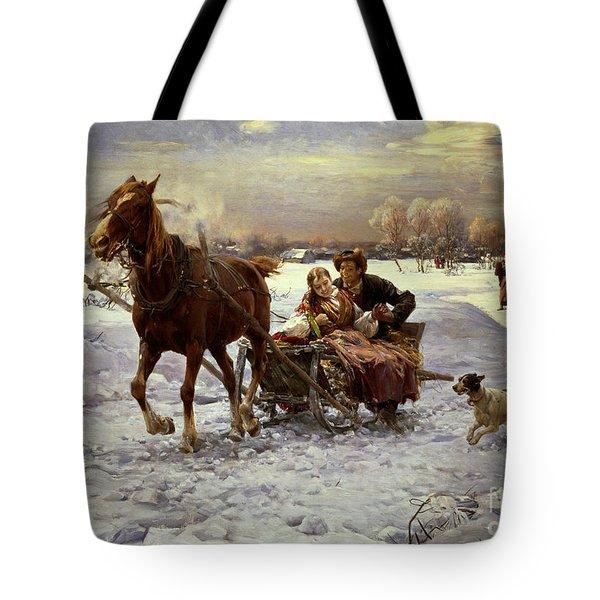 Lovers In A Sleigh Tote Bag by Alfred von Wierusz Kowalski
