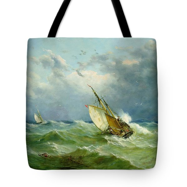 Lowestoft Trawler In Rough Weather Tote Bag by John Moore