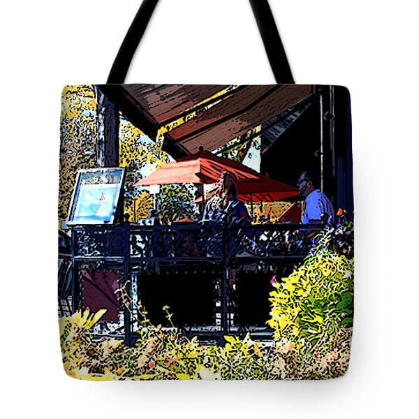 Lunch at Enzios Tote Bag by David Kehrli